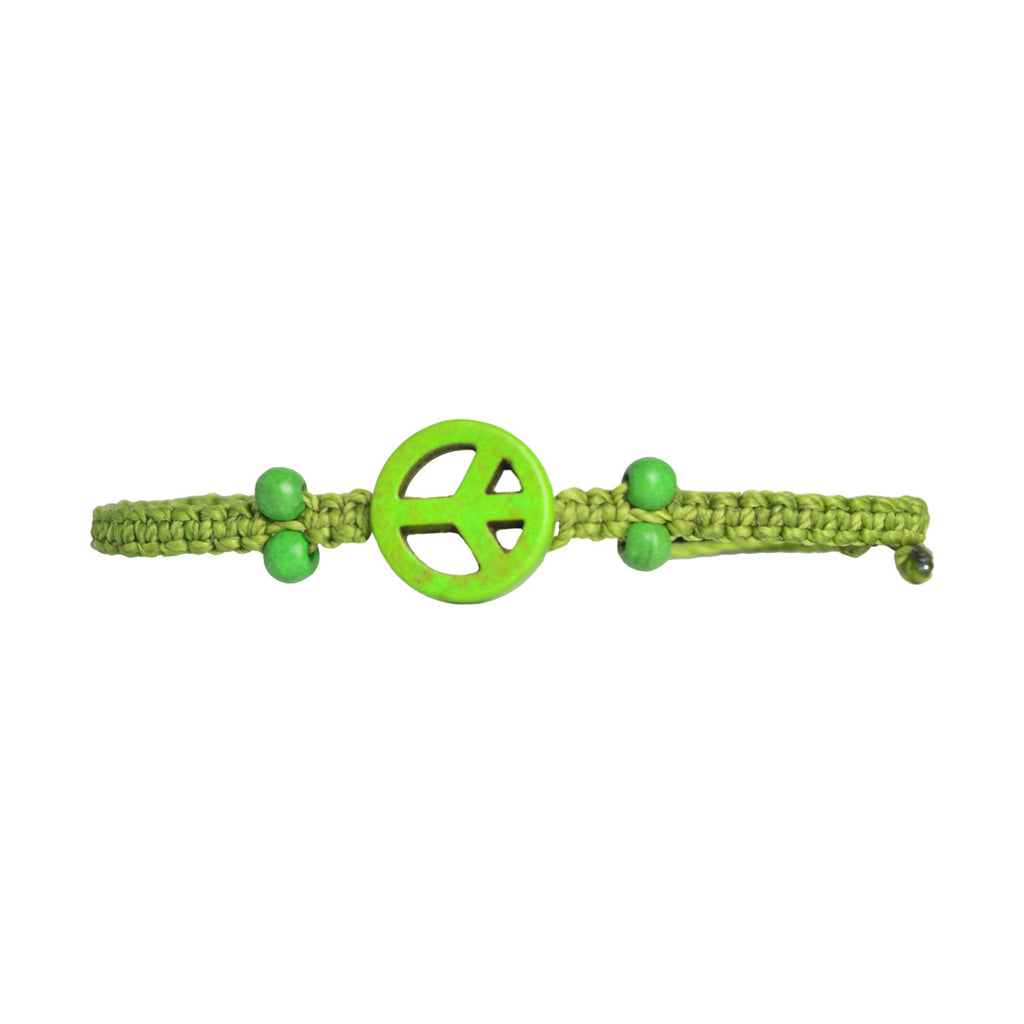 Beaded Peace Sign Bracelet Light Green