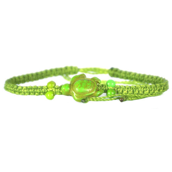 Beaded Sea Turtle Bracelet Light Green