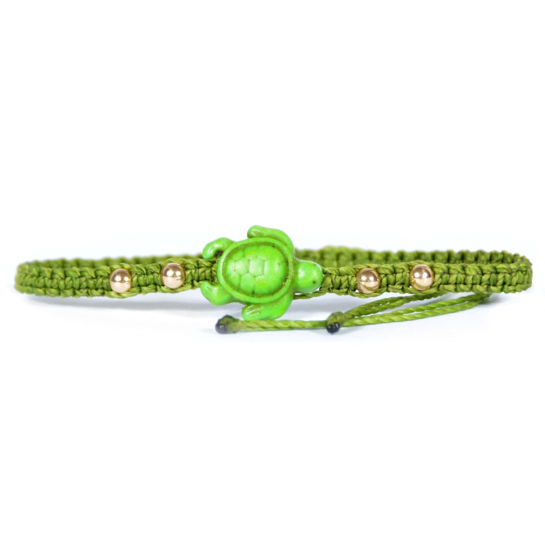 Beaded Gold Filled Sea Turtle Bracelet Light Green