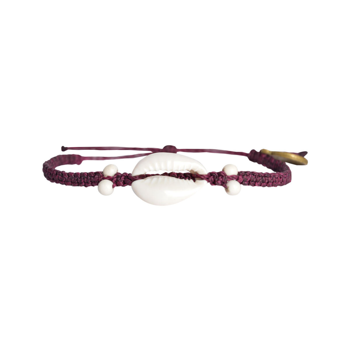 Cowrie Shell Bracelet Dark Purple