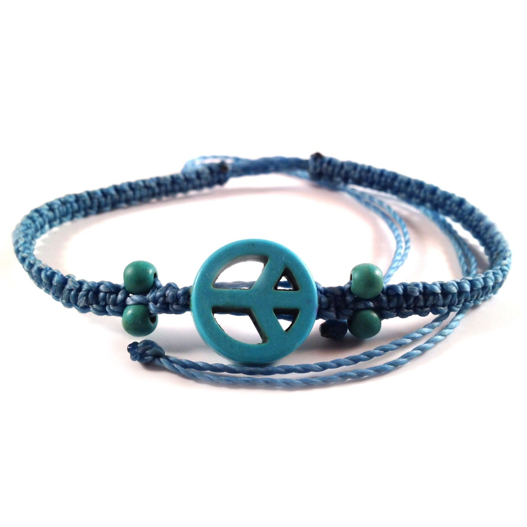 Beaded Peace Sign Bracelet Blue Turquoise