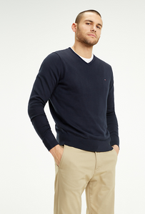 TOMMY HILFIGER COTTON SILK V-NECK