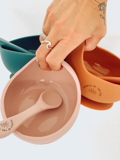 silicone suction bowl & silicone spoon set