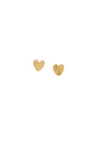 People Tree Earrings Heart Stud - Brass