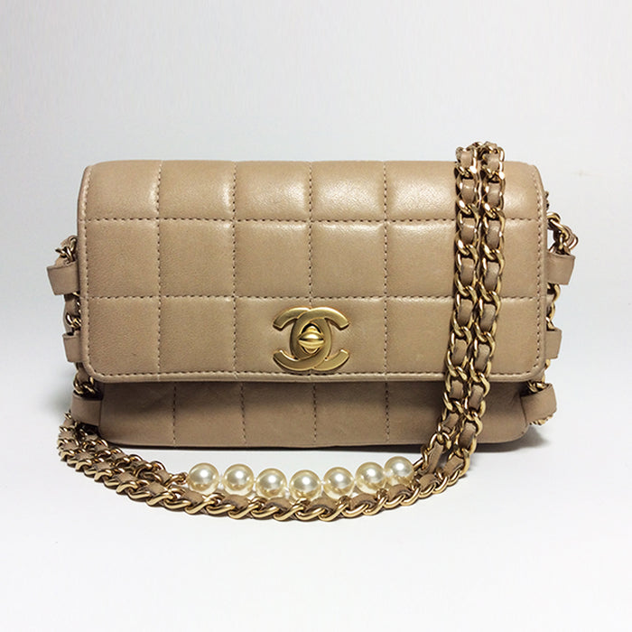 Chanel Beige Quilted Mini Handbag with Gold & Pearl Chain Strap