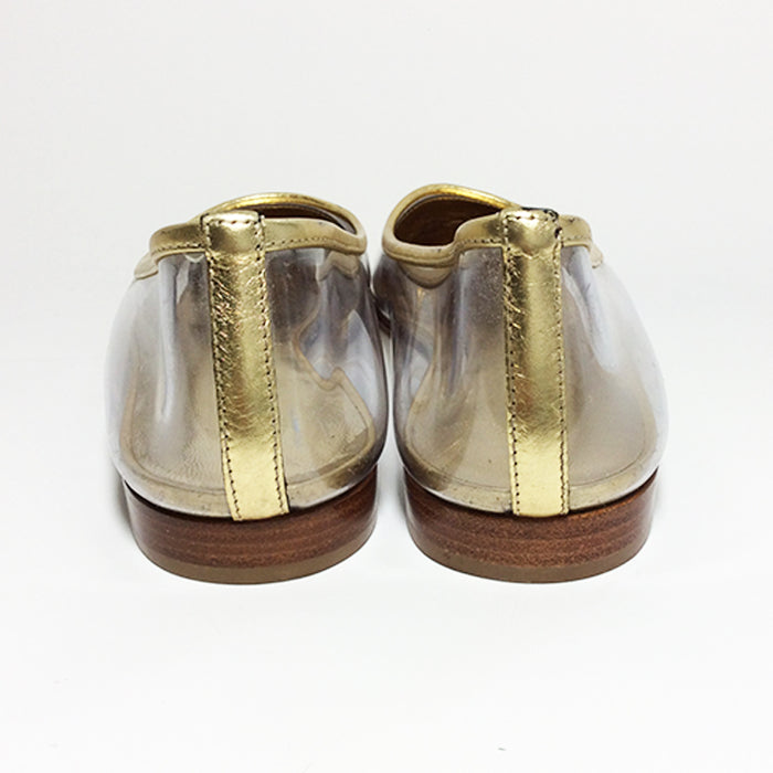 Chanel Vintage Lucite and Gold Ballet Flats Sz 37.5 (7.5)