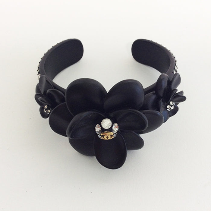 Chanel Black Metal Cuff with Camellia and Crystals