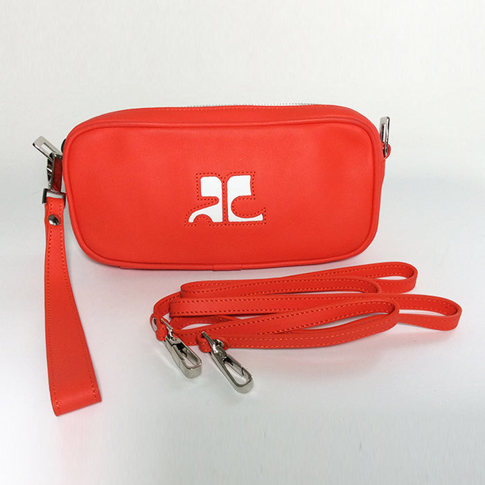 Courréges Orange Wristlet Mini Clutch with Shoulder Strap
