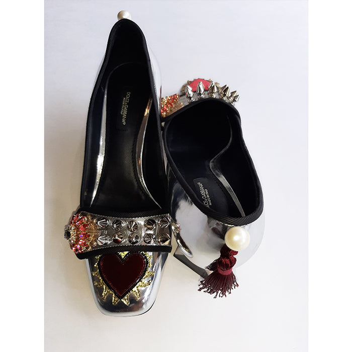 Dolce & Gabbana Silver Shoe with Heart and Embellishments Sz 37.5 (7.5)