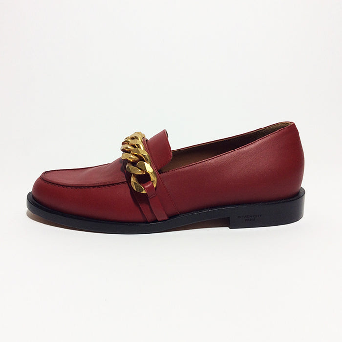 Givenchy Red Leather Loafers with Gold Chain Sz 37.5 (7.5)