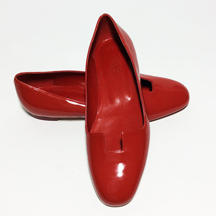 Hermès Red Patent Leather Flats Sz 36.5 (6.5)