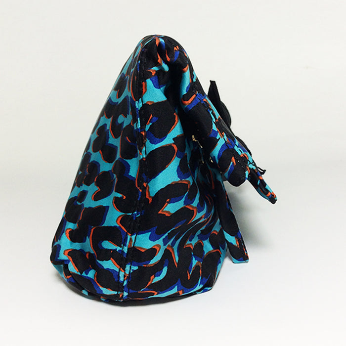 Lanvin Turquoise and Orange Print Silk Clutch