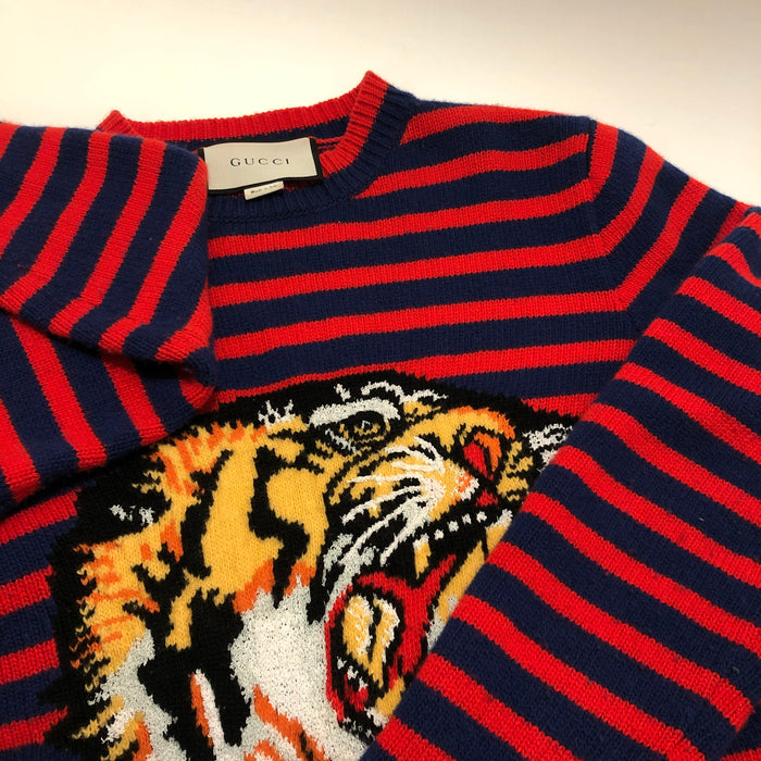 Gucci Knit Striped Tiger Sweater, Sz Extra Small