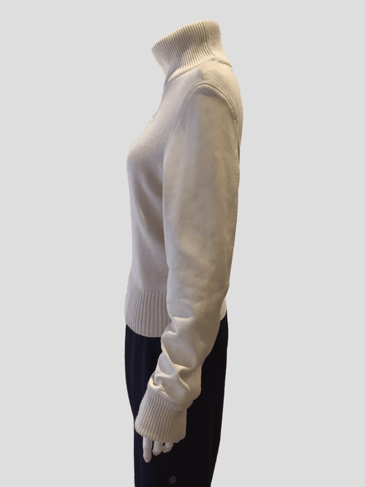 Givenchy Cream Sweater w/Leather Sleeves Sz XS