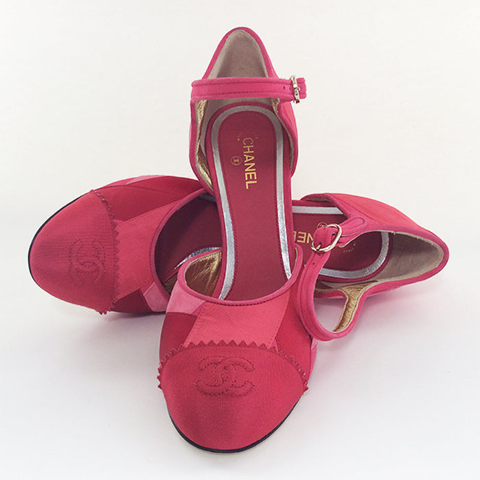 Chanel Raspberry/ Coral Patchwork Pumps Sz 38 (8)