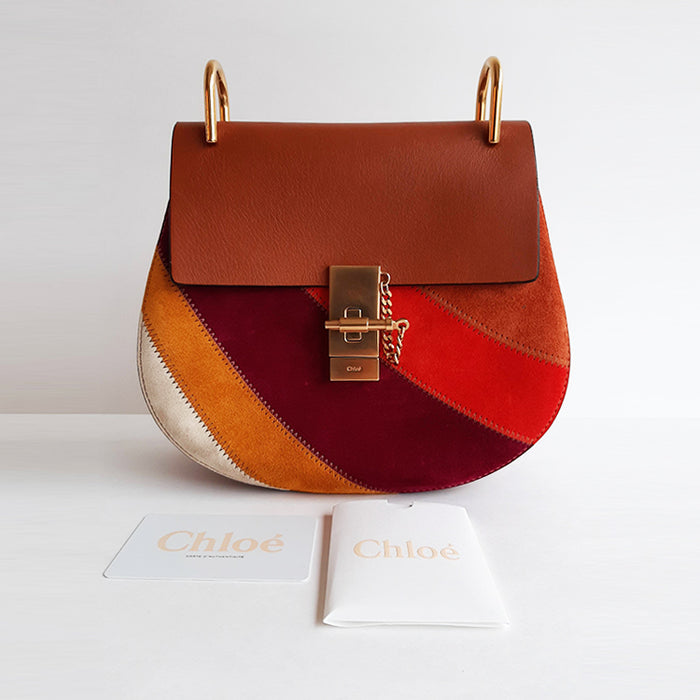 Chloé Drew Multicolored Patchwork Suede Cross-body Bag