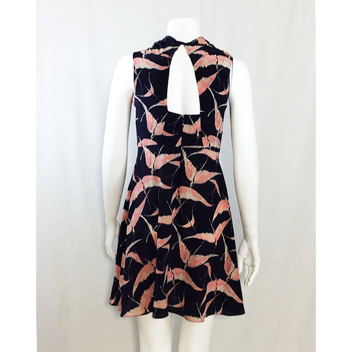 Valentino Navy and Pink Birds Dress with Cape Effect Sz 4