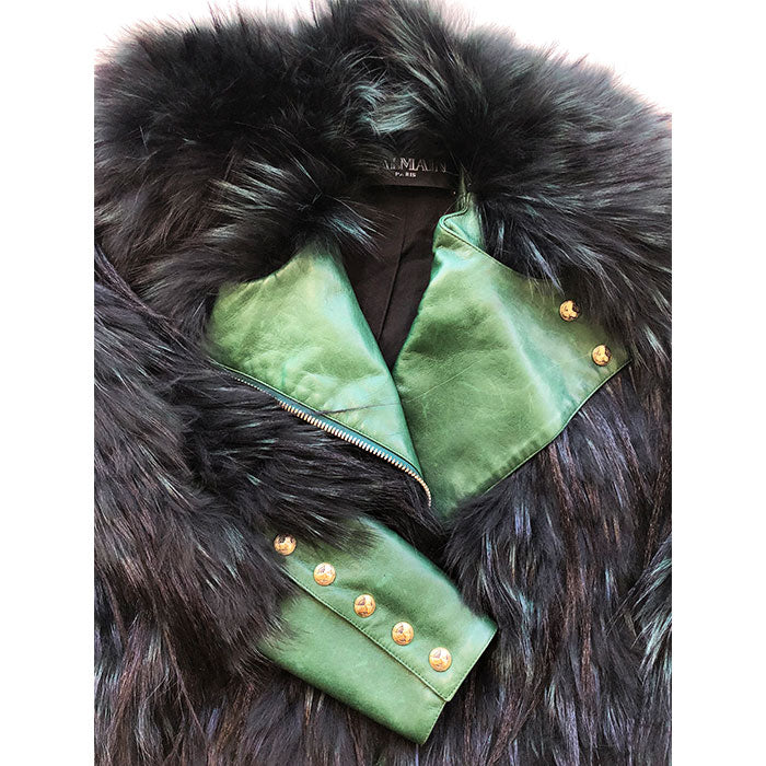 Balmain Paris Green & Black Fur Dolman Jacket Sz S/M