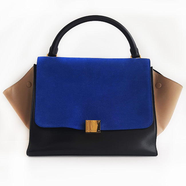 Céline Electric Blue Tricolor Trapeze Handbag