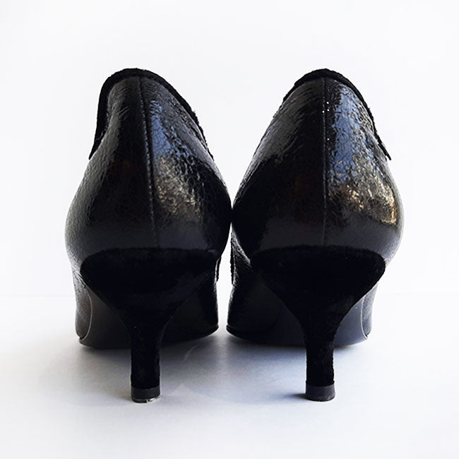 Chanel Black Crackled Patent Leather Kitten Heel Pump Sz 37.5 (7.5)