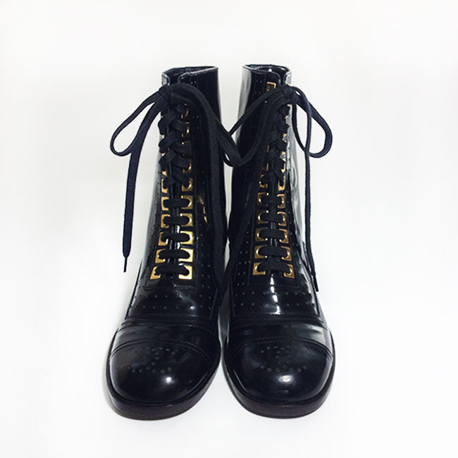 Chanel Black Perforated Lace-Up Combat Boots Sz 38.5 (8.5)