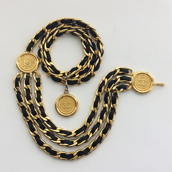 "Chanel Vintage ""Rue Cambon Paris"" Black Leather and Gold Coin belt"