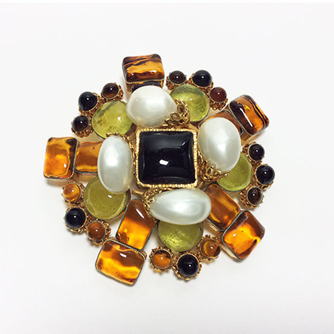 Chanel Gold & Faux Pearl Stone Brooch