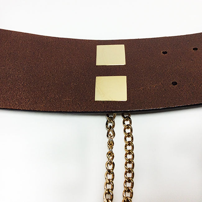 Chanel Wide Leather Brown Belt with Chain Lock Sz 95/38