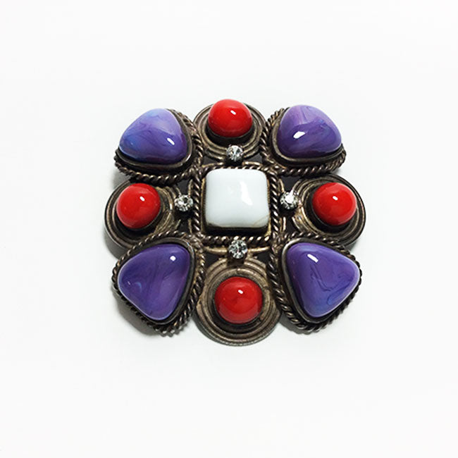 Chanel Vintage Red & Purple Multi-Stone Brooch