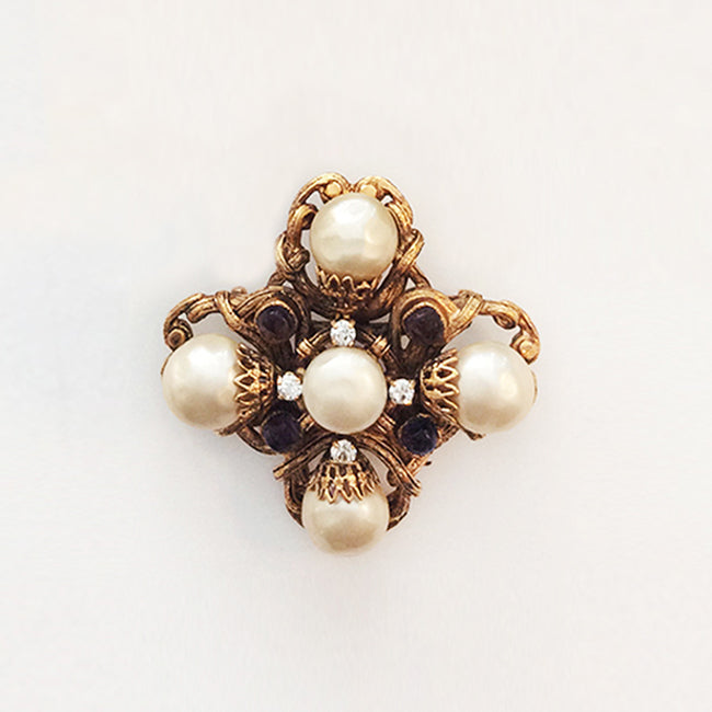 Chanel Gripoix Brooch with Faux Pearls