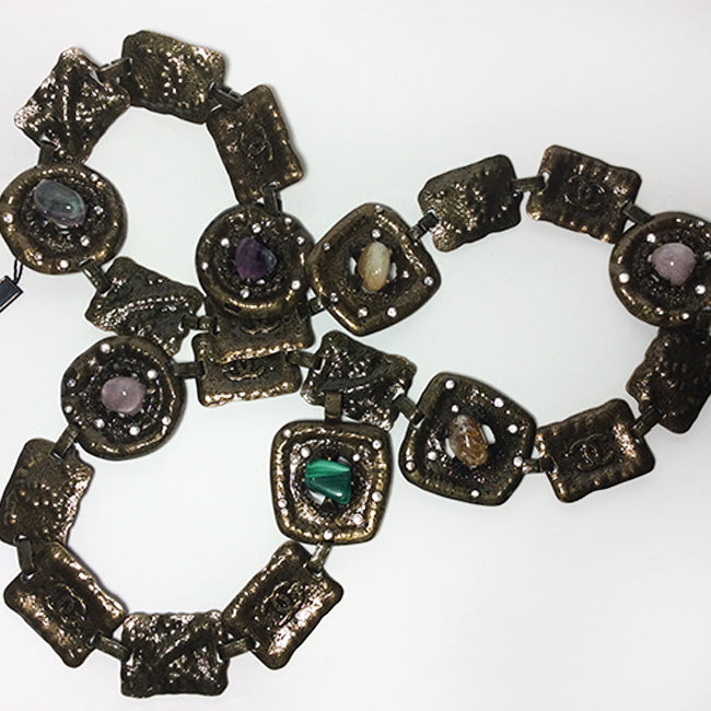 Chanel Bronze Semi-Precious Stones Chain Belt Sz All