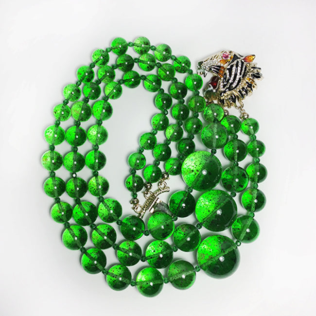 Gucci Multi-Strand Green Stone Necklace with Lion Head
