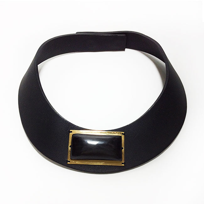 Marni Black Leather & Wood Stone Necklace