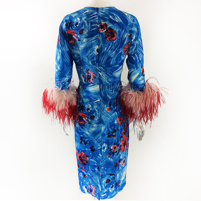 Prada Blue Dress with Ostrich Feather Sleeves Sz 42 (6)