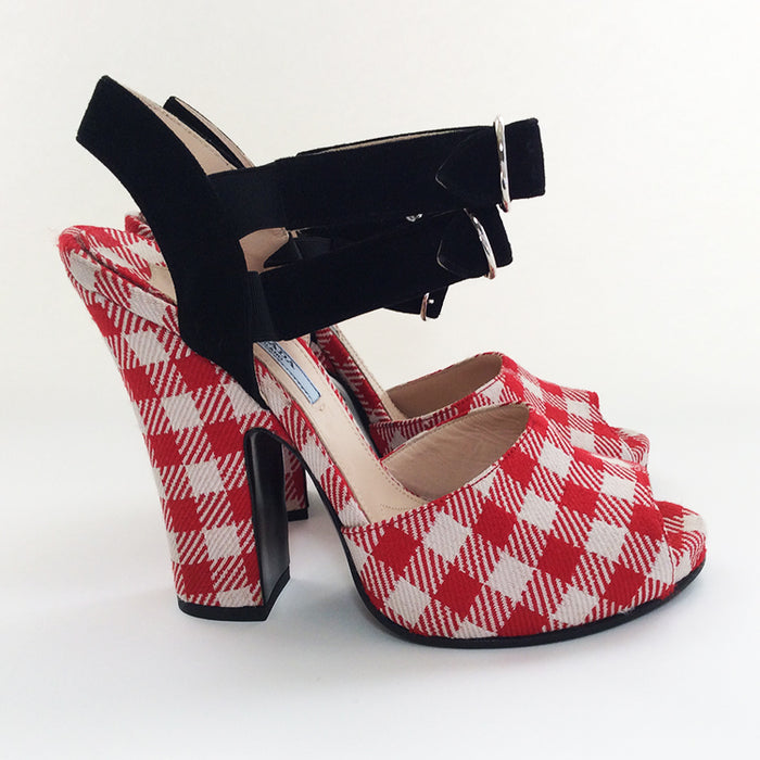 Prada Red & White Checkered Shoes Sz 38 (8)