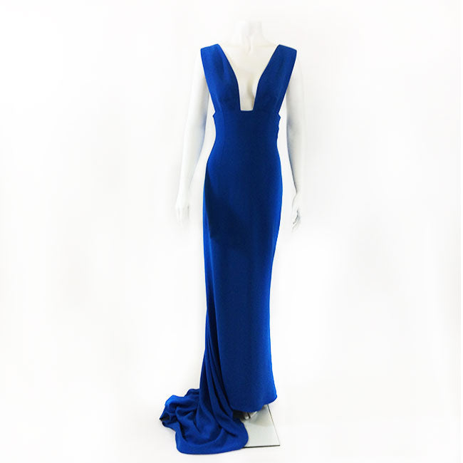 Stella McCartney Deep-V Electric Blue Gown