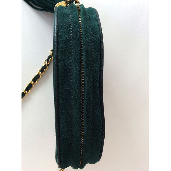 Chanel Vintage Oval Green Suede Classic CC Logo Camera Handbag with Tassel