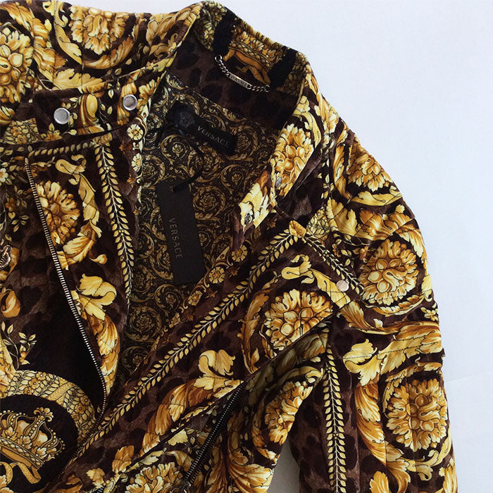 Versace Barocco Moto Gold/Brown Velvet Quilted Jacket Sz Small