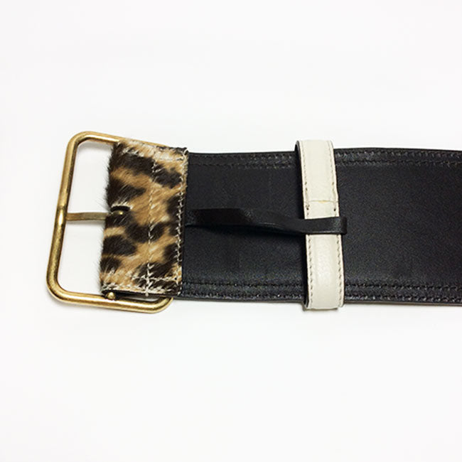 Yves Saint Laurent Leopard Print Pony-Hair Belt Sz 30