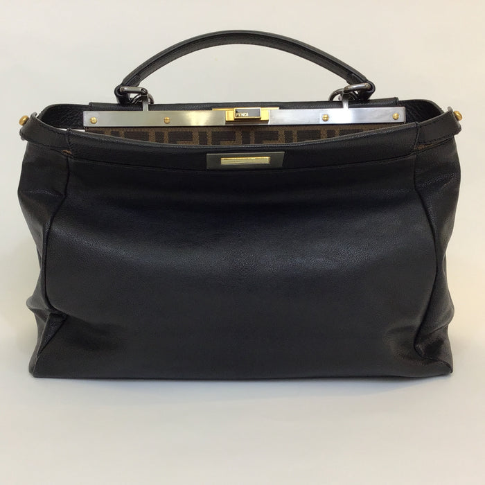 Fendi Black Peekaboo Leather Tote Large