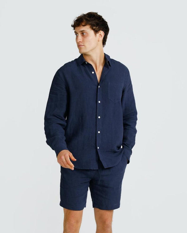 Linen Shirt Navy - ortc Clothing Co. - USA