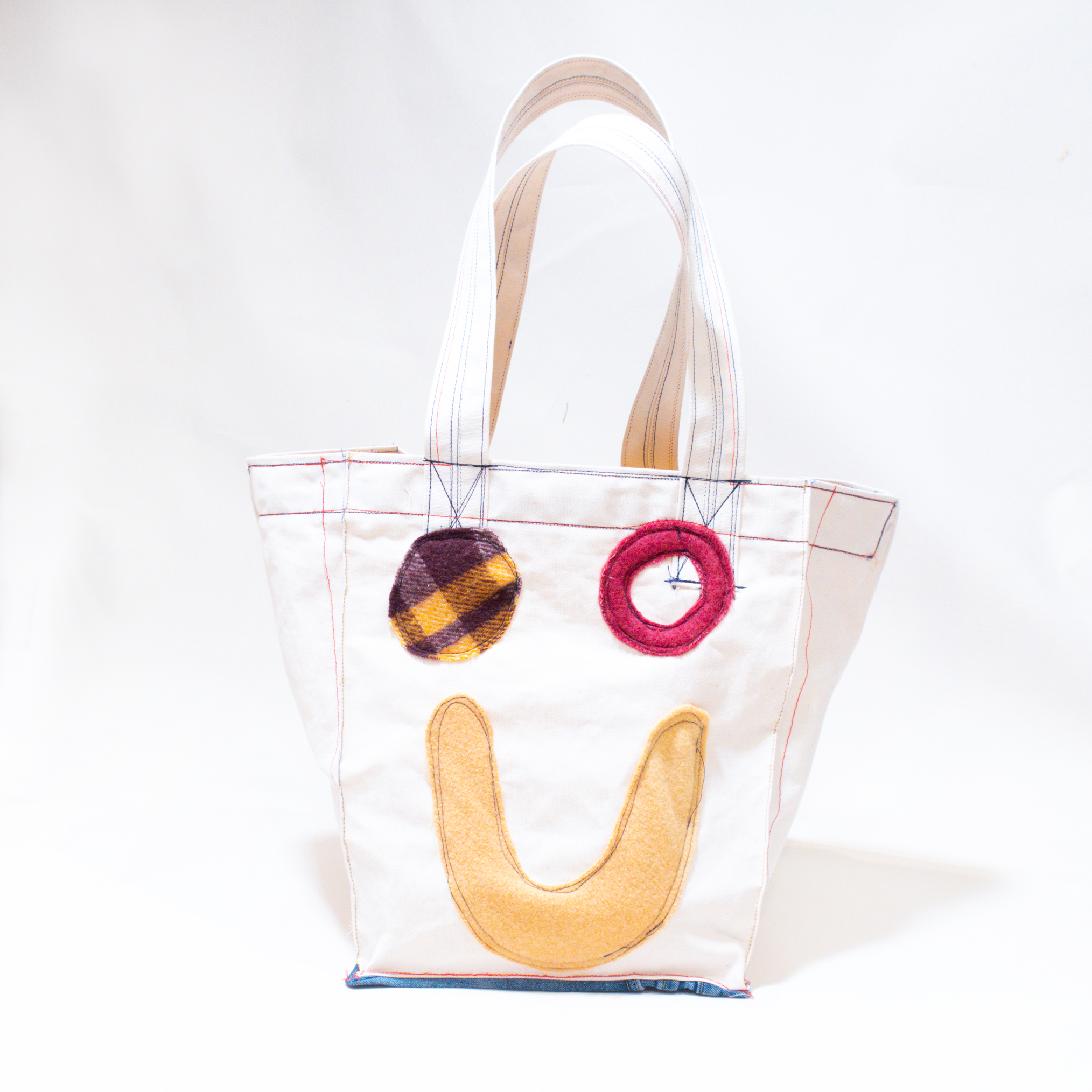 Thank You Have a Good Day Patchwork Smile Oversized Carryall