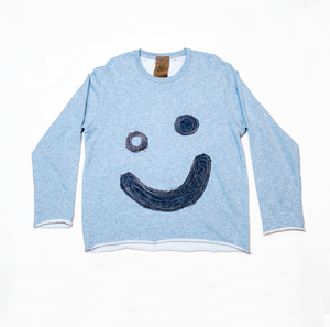 Thank You Denim Patchwork Smile Sweatshirt