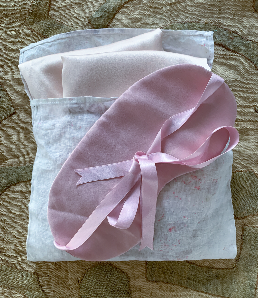 Studio Elemental Botanically dyed silk pillowcase and eye mask set