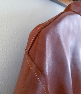 Thank You Have a Good Day Henry Cut and Sew Leather Jacket