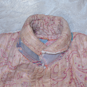 Thank You Have a Good Day Paisley Feed Sack Quilt Reversible Jacket