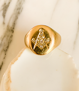 18K and diamond Masonic signet ring