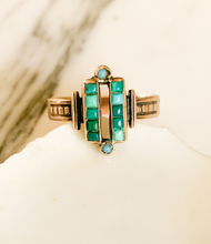 Load image into Gallery viewer, Victorian turquoise and rose gold ring