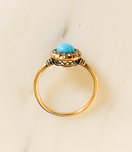 Victorian Turquoise and Rose Cut Diamond Ring, 14K Gold