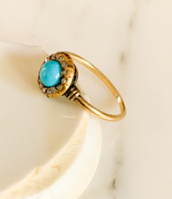 Load image into Gallery viewer, Victorian Turquoise and Rose Cut Diamond Ring, 14K Gold